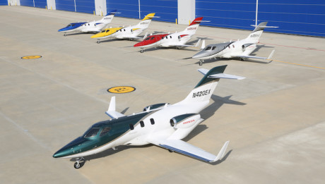 The first production HondaJet is in final assembly at Honda Aircraft Company's world headquarters in Greensboro, N.C. The aircraft is ready for ground tests and features a new paint scheme, a deep pearl green with a gold stripe.